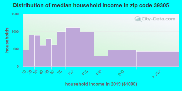 Zip code 39305 household income distribution in 2009