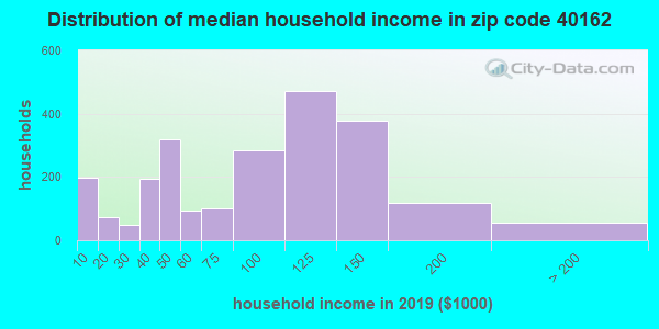 Zip code 40162 household income distribution in 2009