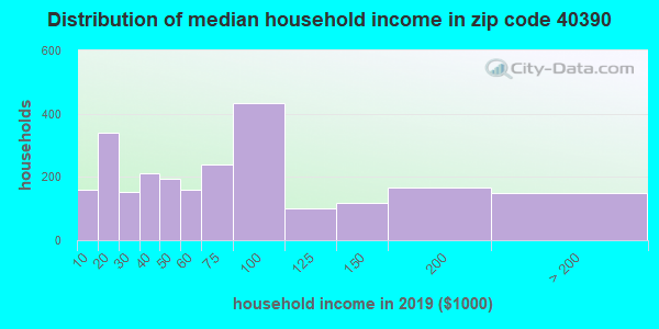 Zip code 40390 household income distribution in 2009