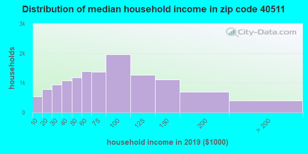 Zip code 40511 household income distribution in 2009