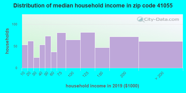 Zip code 41055 household income distribution in 2009