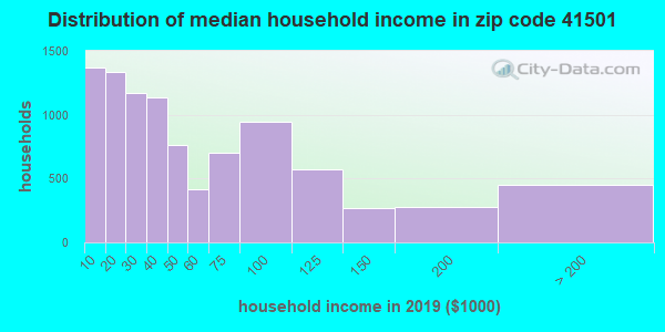 Zip code 41501 household income distribution in 2009