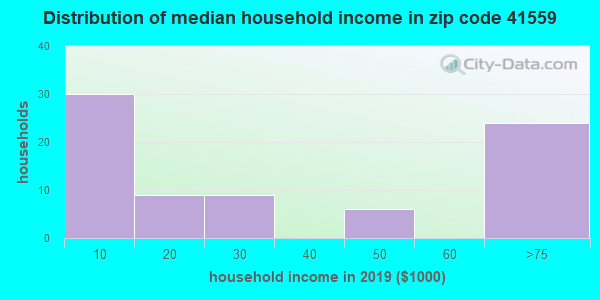 Zip code 41559 household income distribution in 2009