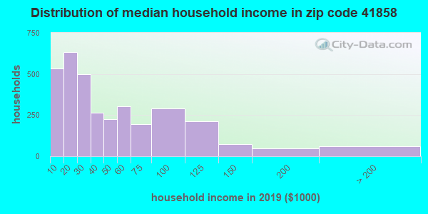 Zip code 41858 household income distribution in 2009