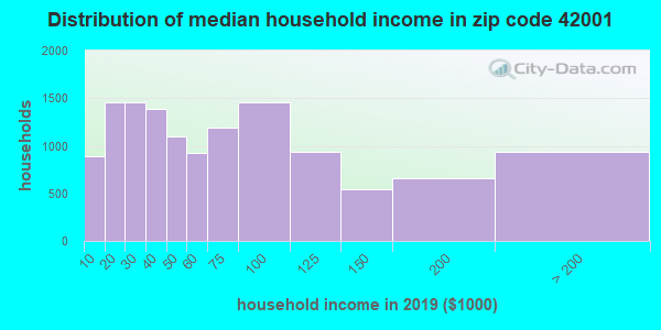 Zip code 42001 household income distribution in 2009