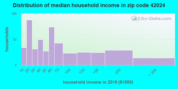 Zip code 42024 household income distribution in 2009