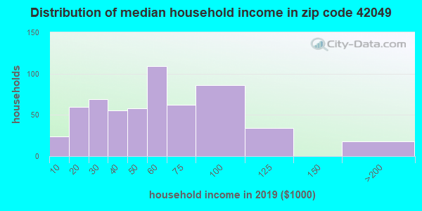 Zip code 42049 household income distribution in 2009