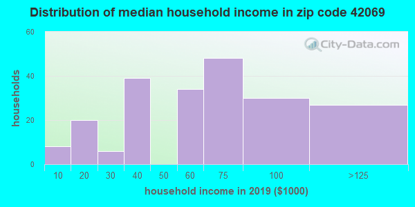 Zip code 42069 household income distribution in 2009