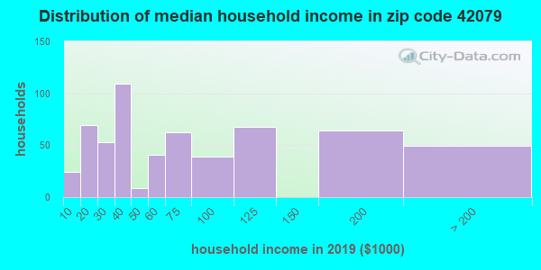 Zip code 42079 household income distribution in 2009