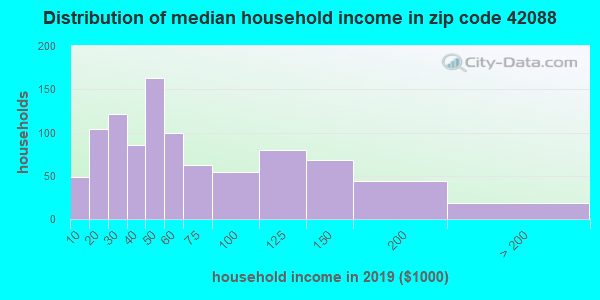 Zip code 42088 household income distribution in 2009