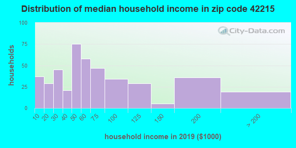 Zip code 42215 household income distribution in 2009
