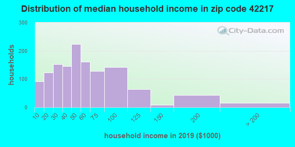 Zip code 42217 household income distribution in 2009