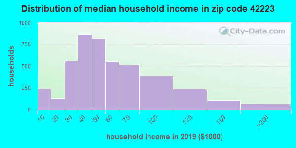 Zip code 42223 household income distribution in 2009