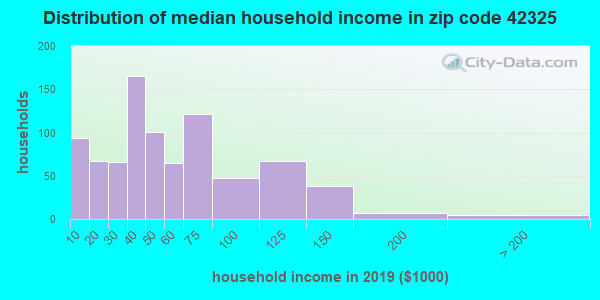 Zip code 42325 household income distribution in 2009