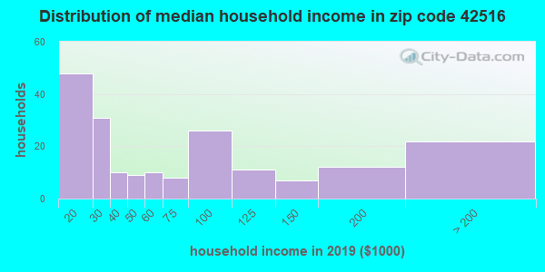 Zip code 42516 household income distribution in 2009