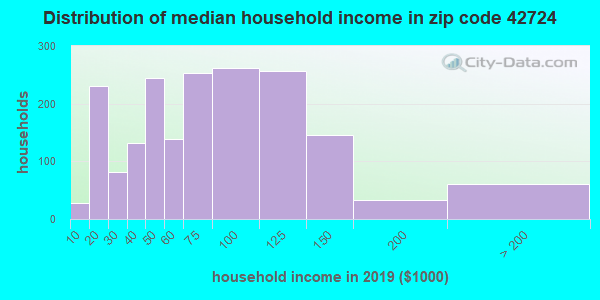 Zip code 42724 household income distribution in 2009