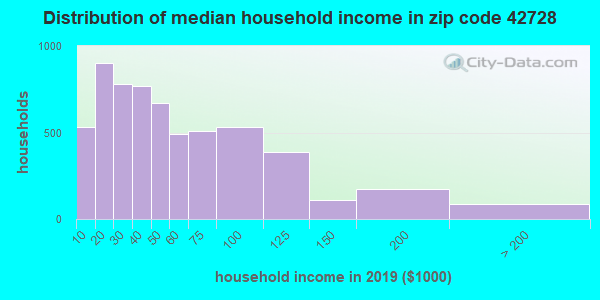 Zip code 42728 household income distribution in 2009