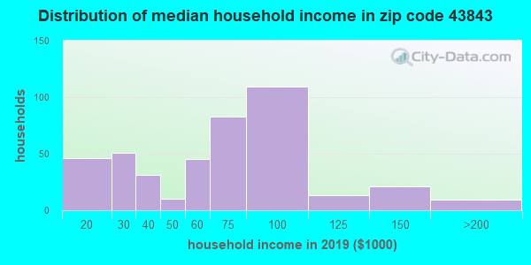 Zip code 43843 household income distribution in 2009