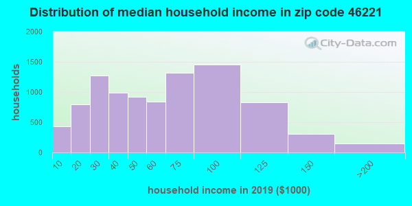 Zip code 46221 household income distribution in 2009
