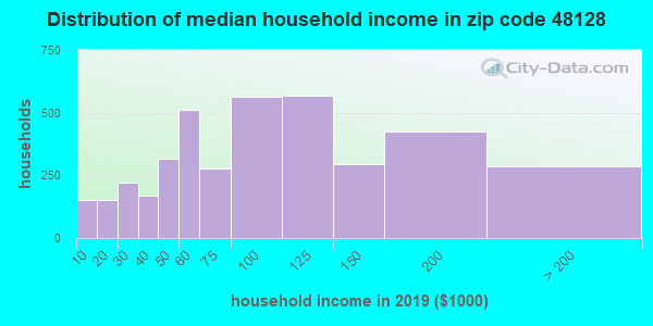 Zip code 48128 household income distribution in 2009