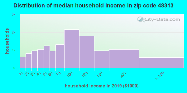 Zip code 48313 household income distribution in 2009