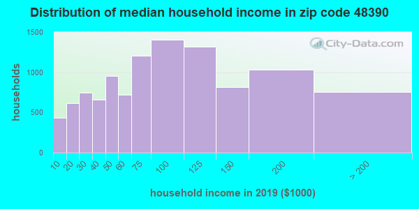 Zip code 48390 household income distribution in 2009