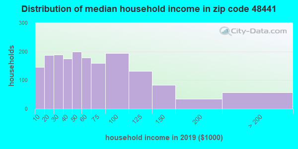 Zip code 48441 household income distribution in 2009