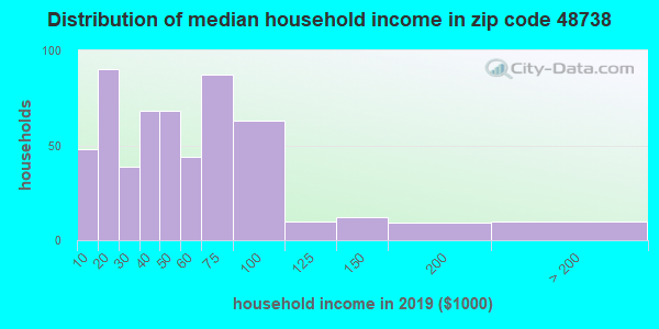 Zip code 48738 household income distribution in 2009