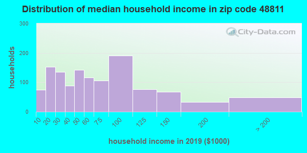 Zip code 48811 household income distribution in 2009
