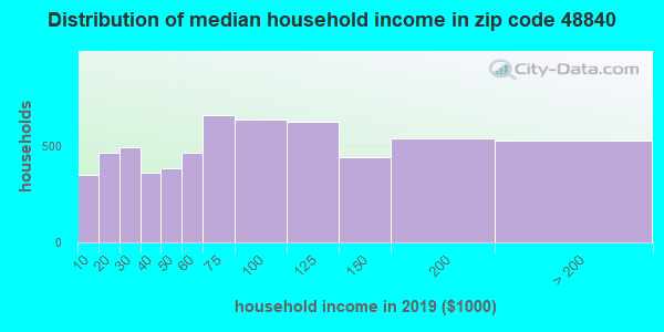 Zip code 48840 household income distribution in 2009