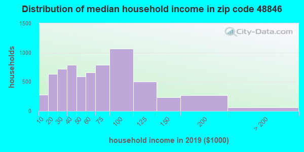 Zip code 48846 household income distribution in 2009