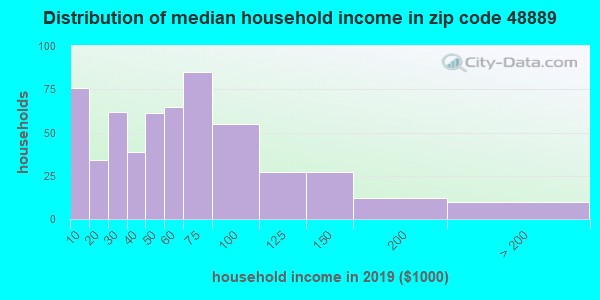 Zip code 48889 household income distribution in 2009
