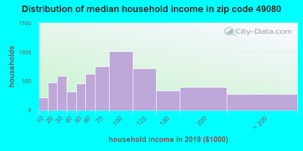 Zip code 49080 household income distribution in 2009