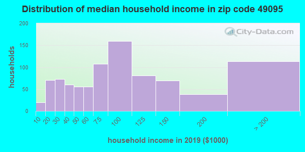 Zip code 49095 household income distribution in 2009