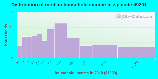 Zip code 49201 household income distribution in 2009