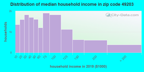 Zip code 49203 household income distribution in 2009
