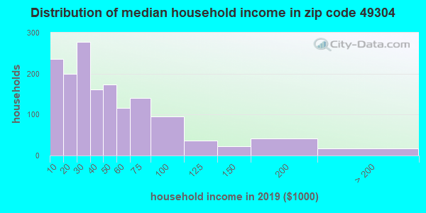 Zip code 49304 household income distribution in 2009