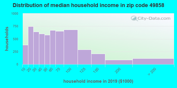 Zip code 49858 household income distribution in 2009