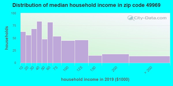 Zip code 49969 household income distribution in 2009
