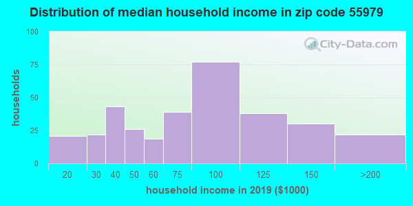 Zip code 55979 household income distribution in 2009