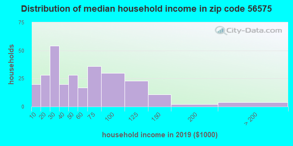 Zip code 56575 household income distribution in 2009