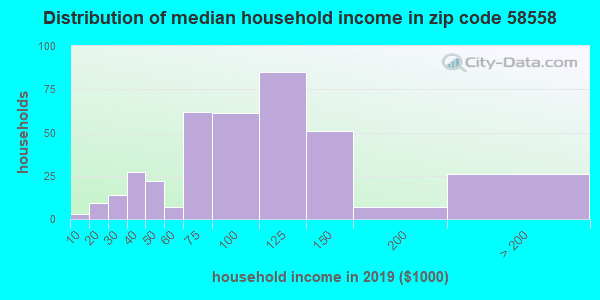 Zip code 58558 household income distribution in 2009