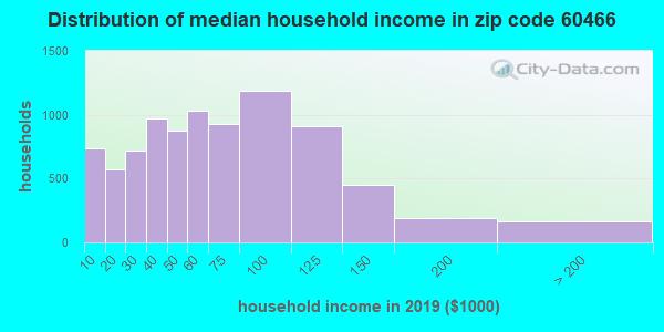 Zip code 60466 household income distribution in 2009