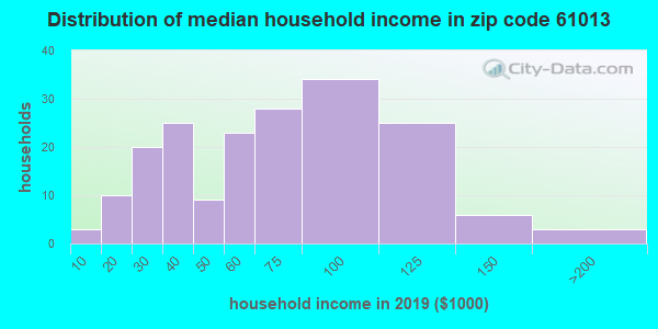 Zip code 61013 household income distribution in 2009
