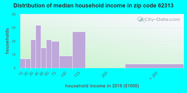 Zip code 62313 household income distribution in 2009