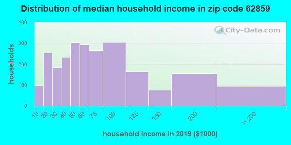 Zip code 62859 household income distribution in 2009