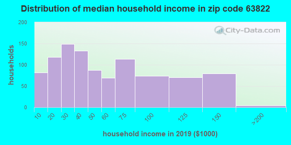 Zip code 63822 household income distribution in 2009