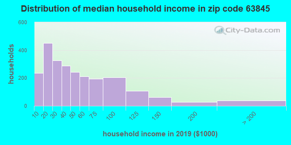 Zip code 63845 household income distribution in 2009