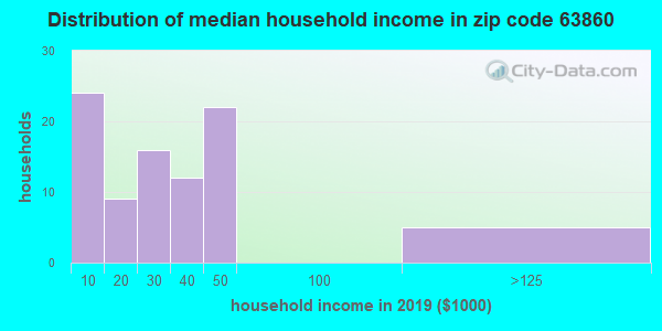Zip code 63860 household income distribution in 2009