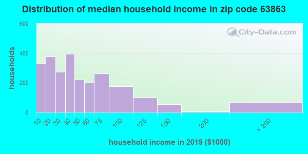 Zip code 63863 household income distribution in 2009